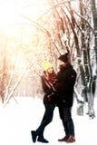 Couple heterosexual on street winter stock images