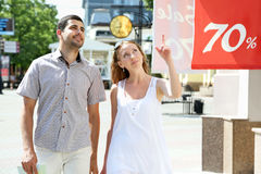 Young couple walking Stock Image