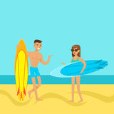 Young couple walking on the beach with surfboards. Colorful vector Illustration Stock Photography