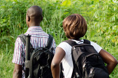 Young couple walking in the bush. Royalty Free Stock Photos