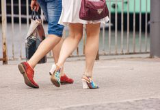 Young couple walking in the city stock photo