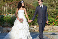 Young couple walking with joined hands Stock Image