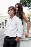 Young couple walking in the old part of town Royalty Free Stock Images