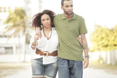 Young couple walking in the park Royalty Free Stock Image