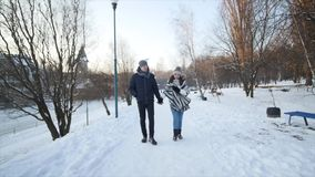 Young couple walking in a park. Winter season. Loving couple walking in winter park and smiling.  stock video