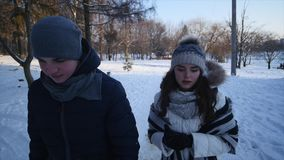 Young couple walking in a park. Winter season. Loving couple walking in winter park and smiling.  stock video footage