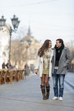 Young couple walking on street Royalty Free Stock Photo