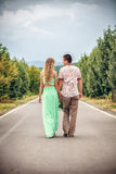 Young couple walking in street Royalty Free Stock Photography