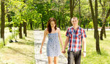 Young couple walking together in a park Royalty Free Stock Photography