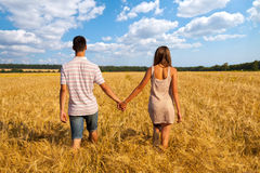 Young couple walking through  wheat field Stock Image