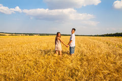 Young couple walking through  wheat field Royalty Free Stock Photo