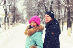 Young couple walking winter Royalty Free Stock Photo