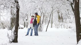 Young couple walking in winter woods. Happy young couple walking in winter woods stock footage