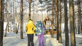 Young couple walking in winter woods stock video footage