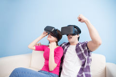 Young couple watch vr ecited Royalty Free Stock Image