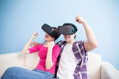 Young couple watch vr ecited Stock Image
