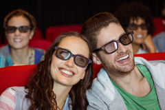 Young couple watching a 3d film Stock Photos