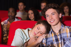 Young couple watching a film Stock Photos