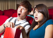Young couple  watching a movie Royalty Free Stock Photography