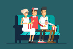 Young couple watching a movie Stock Photo
