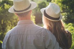 Young couple watching sunset. Togetherness concept Royalty Free Stock Photos