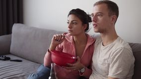 Young couple watching tv set at home while sitting on sofa and enjoying the shows. They have snacks - eating crisps and. Drinking beer. Indoors stock footage