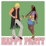 Young couple wearing hippie clothes of the 60s and 70s dancing.  Stock Photography