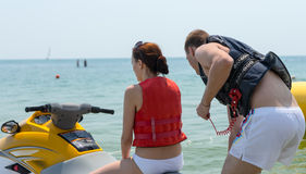 Young couple wearing life jackets Stock Photography