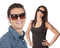 Young couple wearing sunglasses Stock Photos