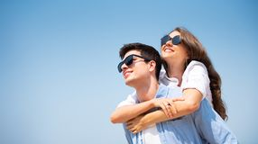 Young couple wearing sunglasses stock photography