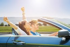 Couple Traveling In The Car stock images
