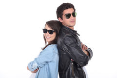 Young couple wearing sunglasses Royalty Free Stock Photo