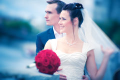 Young couple wedding. Soft romantic colors Stock Photography