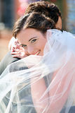 Young couple after wedding in a hug Royalty Free Stock Image