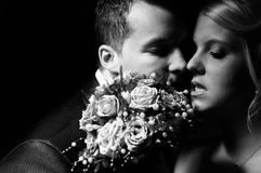Young couple in wedding wear Stock Images