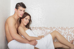Young couple in the wellness center Royalty Free Stock Photos