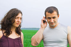 Young couple in a wheat field Royalty Free Stock Photos
