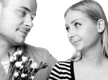 Young couple on white Royalty Free Stock Photos