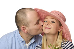 Young couple on white Royalty Free Stock Photo