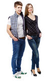 Young couple  on white background Stock Photography