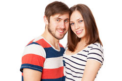 Young couple on white background Royalty Free Stock Image