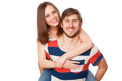 Young couple on white background Stock Photo