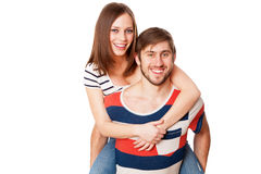 Young couple on white background Royalty Free Stock Photo