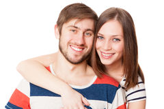 Young couple on white background Royalty Free Stock Photography