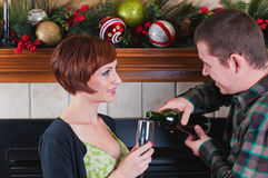 Young couple and wine toast Stock Image