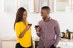 Young Couple With Wineglasses Stock Photography