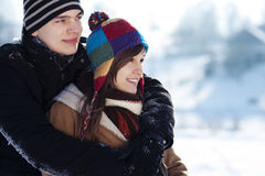 Young couple in winter Stock Images
