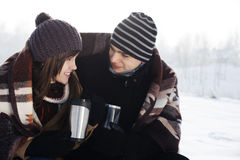 Young couple in winter. Winter collection: young couple in winter Stock Photos