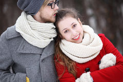 Young Couple in Winter Clothes Stock Photos