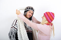 Young couple in winter clothes having fun Royalty Free Stock Photo